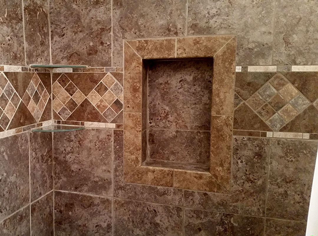 Shower With Inset And Custom Tile