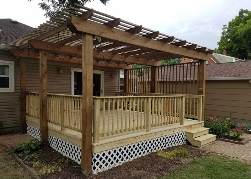 Angled Front View Deck With Pergola