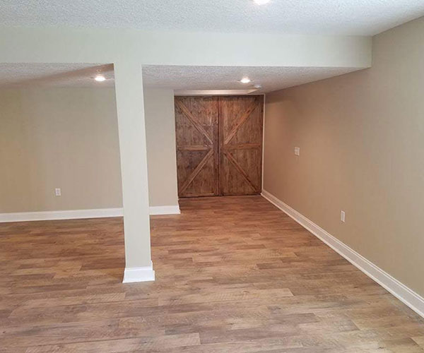 Finished Basement With Barn Style Door