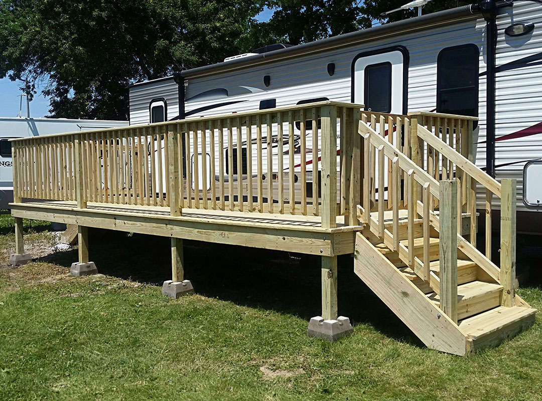Entire View Of Deck Beside Camper