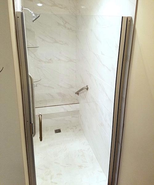 Door Closed To Marble Shower