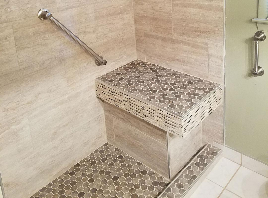 New Shower Tile Bench