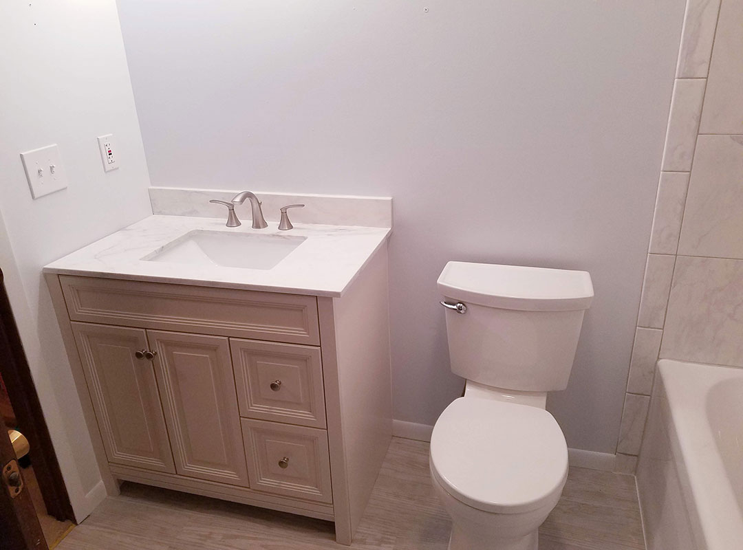Vanity And Toilet In Small Bathroom