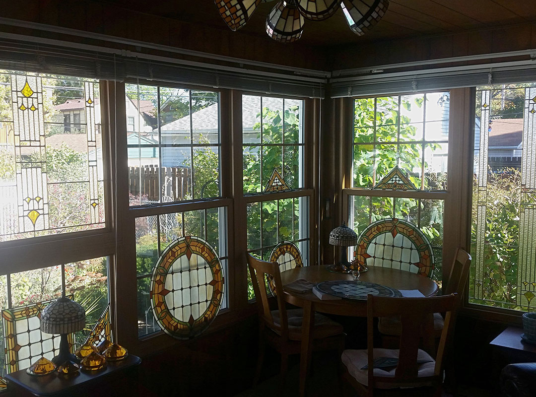 Back Porch With Stained Glass Windows