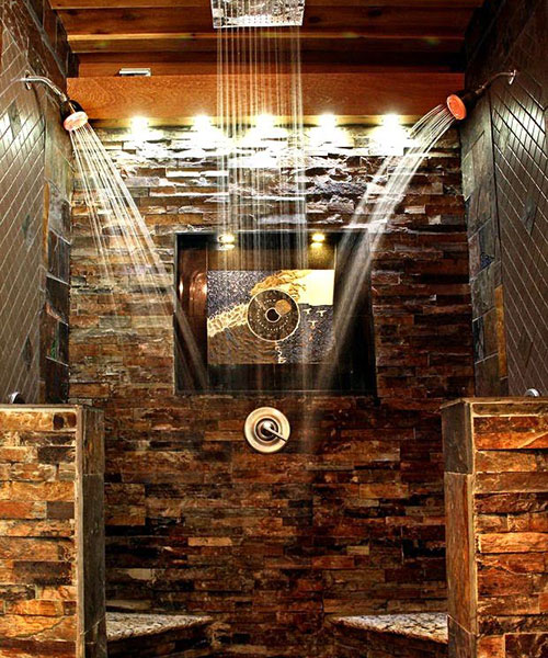 Open Shower With Stone Work
