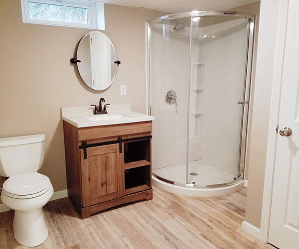 Bathroom In Remodeled Basement Small View