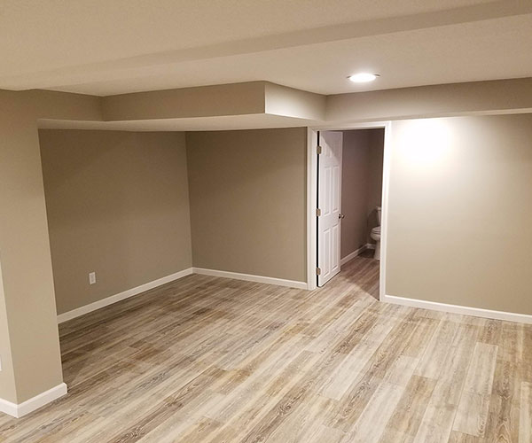 View Of Basement Looking At Bathroom