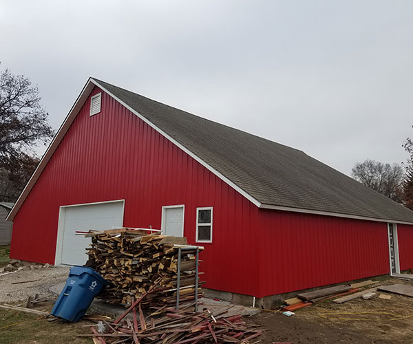 Landscape Of Red Barn Right Side